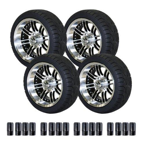 ezgo 750396pkg backlash tires with 14 inch black and machined laguna wheels package golf cart. Black Bedroom Furniture Sets. Home Design Ideas