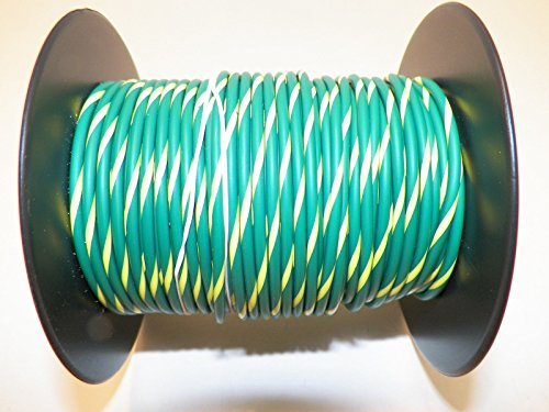 Green Yellow Striped, 18 GA Gauge AWG Wire, 100′ Spool, For ...