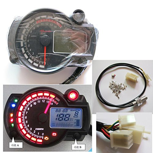 199 Km  H Lcd Digital Speedometer Tachometer Odometer Motorcycle Mph Kmh 14000 Rpm
